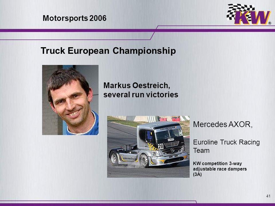 41 Truck European Championship Mercedes AXOR, Euroline Truck Racing Team Markus Oestreich, several run victories KW competition 3-way adjustable race
