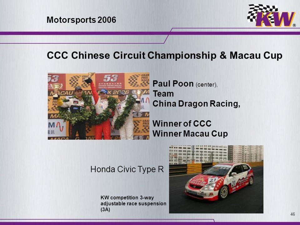 46 CCC Chinese Circuit Championship & Macau Cup Paul Poon (center), Team China Dragon Racing, Winner of CCC Winner Macau Cup KW competition 3-way adju