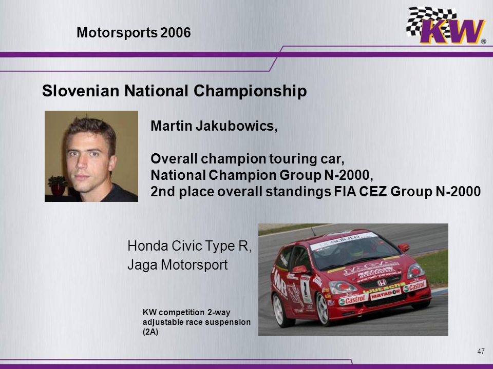 47 Slovenian National Championship Martin Jakubowics, Overall champion touring car, National Champion Group N-2000, 2nd place overall standings FIA CE