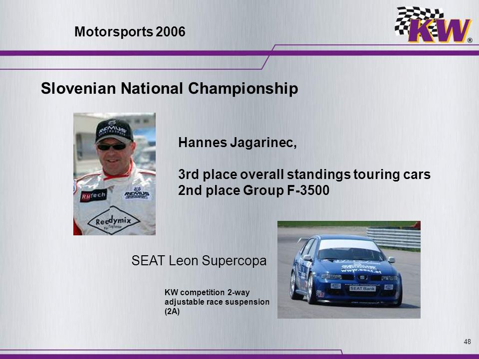 48 Hannes Jagarinec, 3rd place overall standings touring cars 2nd place Group F-3500 SEAT Leon Supercopa KW competition 2-way adjustable race suspensi