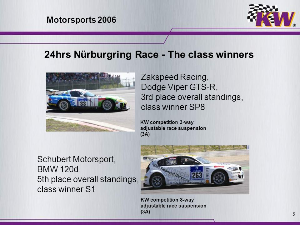 5 KW competition 3-way adjustable race suspension (3A) Zakspeed Racing, Dodge Viper GTS-R, 3rd place overall standings, class winner SP8 Schubert Moto