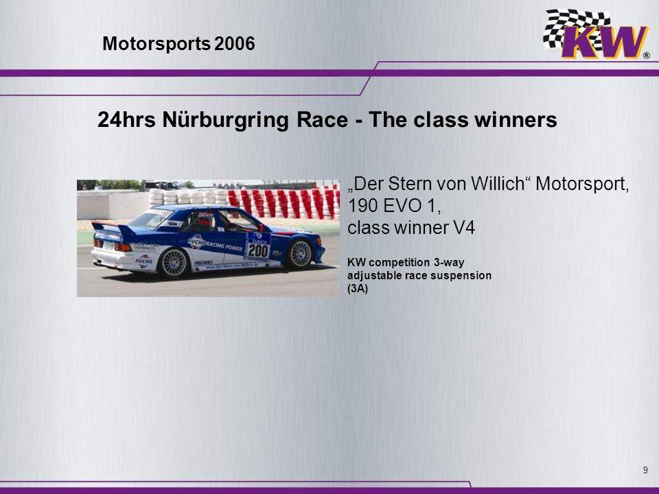 9 KW competition 3-way adjustable race suspension (3A) Der Stern von Willich Motorsport, 190 EVO 1, class winner V4 Motorsports 2006 24hrs Nürburgring