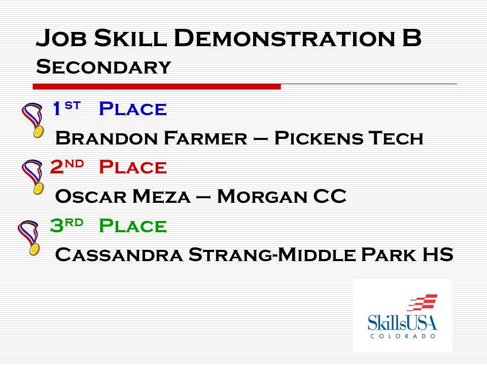Job Skill Demonstration B Secondary 1 st Place Brandon Farmer – Pickens Tech 2 nd Place Oscar Meza – Morgan CC 3 rd Place Cassandra Strang-Middle Park