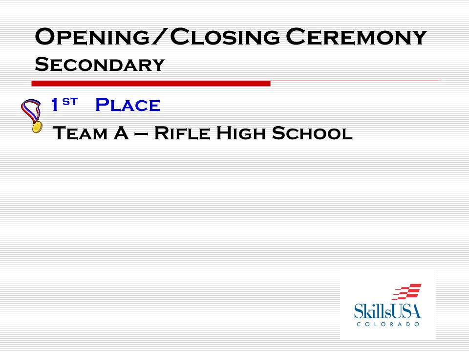 Opening/Closing Ceremony Secondary 1 st Place Team A – Rifle High School
