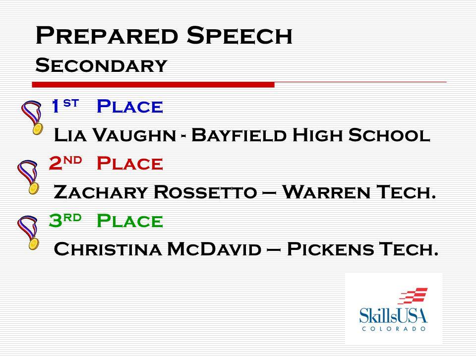 Prepared Speech Secondary 1 st Place Lia Vaughn - Bayfield High School 2 nd Place Zachary Rossetto – Warren Tech.
