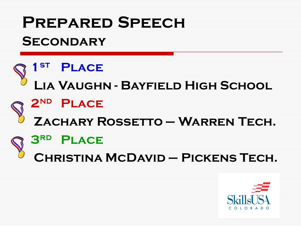 Prepared Speech Secondary 1 st Place Lia Vaughn - Bayfield High School 2 nd Place Zachary Rossetto – Warren Tech. 3 rd Place Christina McDavid – Picke
