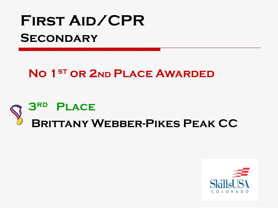 First Aid/CPR Secondary No 1 st or 2 nd Place Awarded 3 rd Place Brittany Webber-Pikes Peak CC