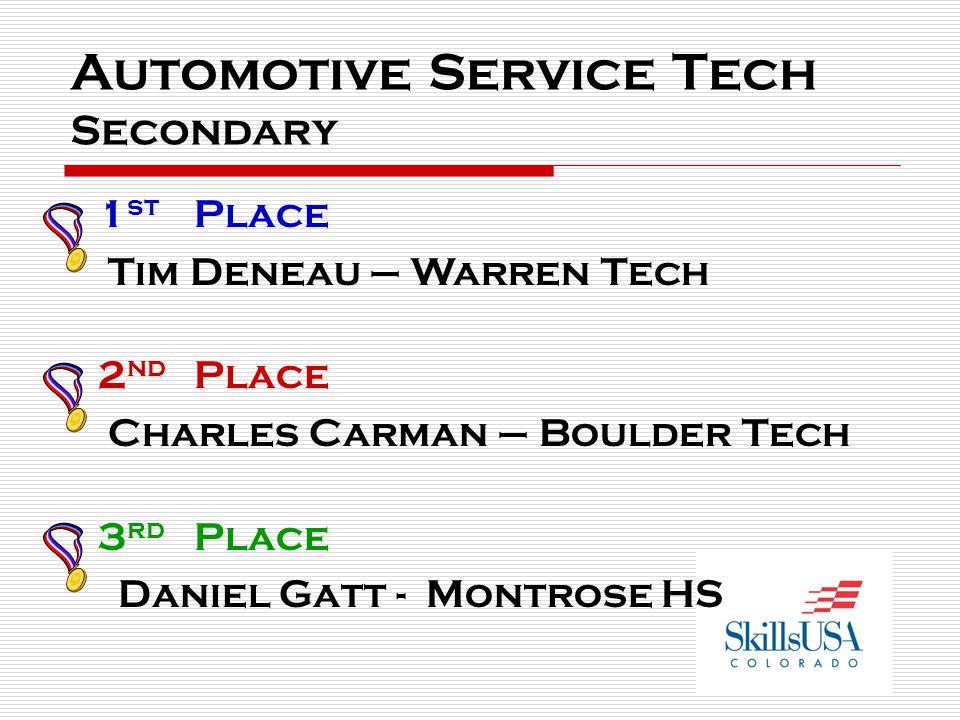 Automotive Service Tech Secondary 1 st Place Tim Deneau – Warren Tech 2 nd Place Charles Carman – Boulder Tech 3 rd Place Daniel Gatt - Montrose HS