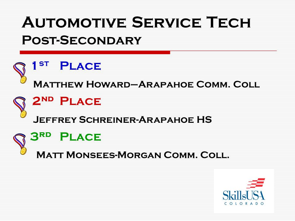 Automotive Service Tech Post-Secondary 1 st Place Matthew Howard–Arapahoe Comm. Coll 2 nd Place Jeffrey Schreiner-Arapahoe HS 3 rd Place Matt Monsees-