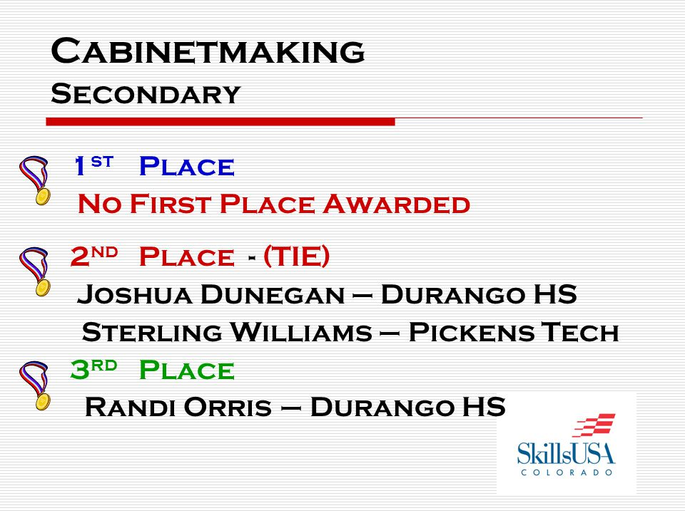 Cabinetmaking Secondary 1 st Place No First Place Awarded 2 nd Place - (TIE) Joshua Dunegan – Durango HS Sterling Williams – Pickens Tech 3 rd Place Randi Orris – Durango HS