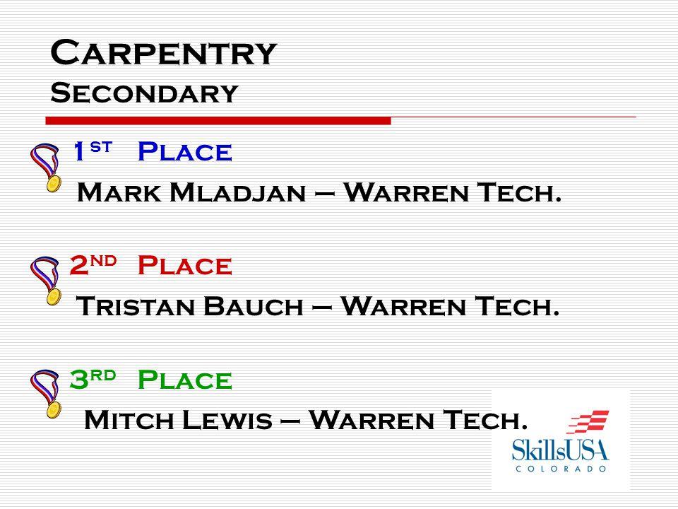 Carpentry Secondary 1 st Place Mark Mladjan – Warren Tech. 2 nd Place Tristan Bauch – Warren Tech. 3 rd Place Mitch Lewis – Warren Tech.