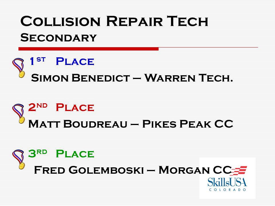 Collision Repair Tech Secondary 1 st Place Simon Benedict – Warren Tech.