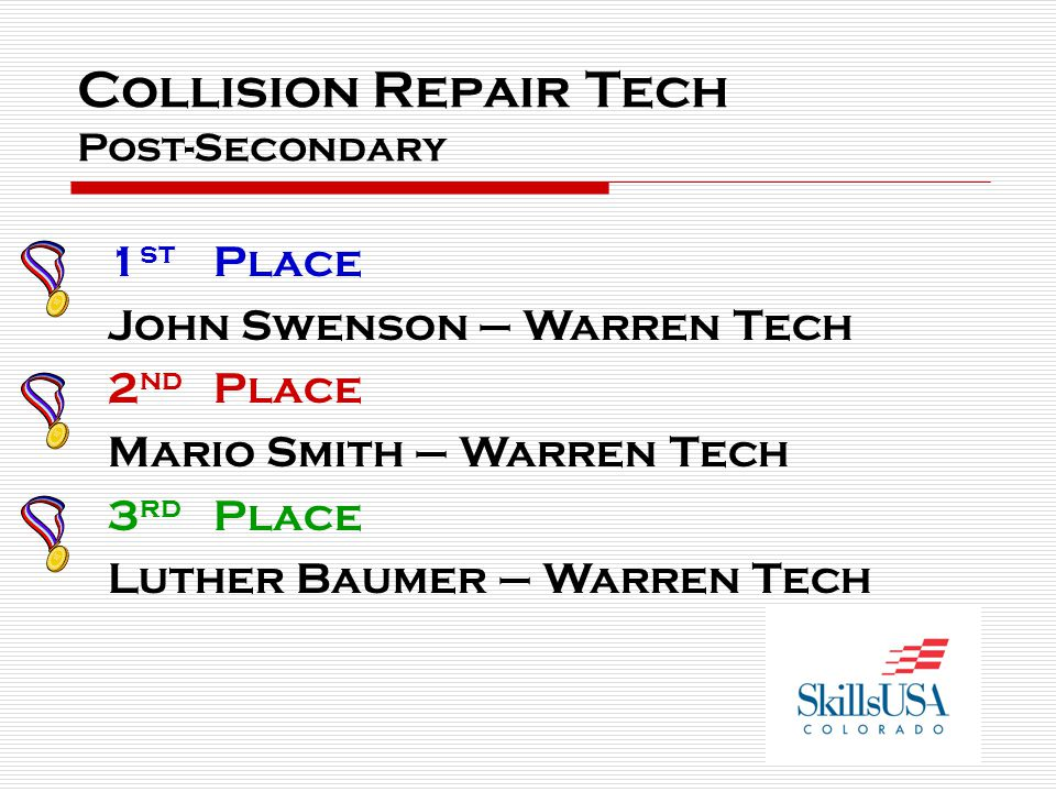 Collision Repair Tech Post-Secondary 1 st Place John Swenson – Warren Tech 2 nd Place Mario Smith – Warren Tech 3 rd Place Luther Baumer – Warren Tech