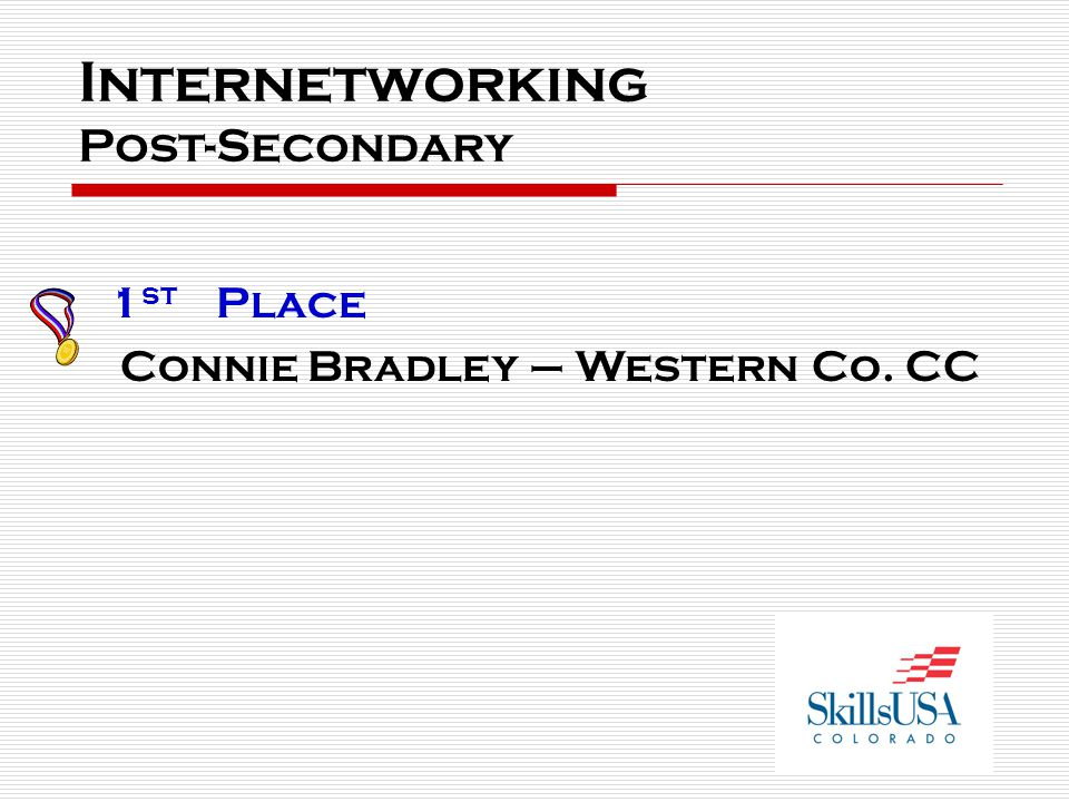 Internetworking Post-Secondary 1 st Place Connie Bradley – Western Co. CC