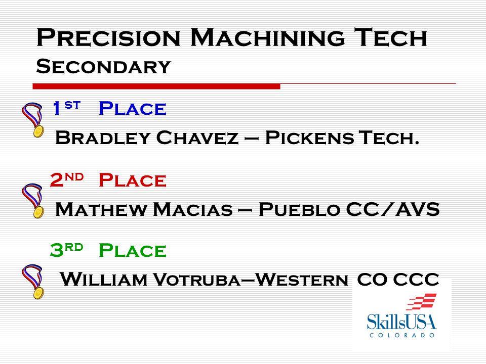 Precision Machining Tech Secondary 1 st Place Bradley Chavez – Pickens Tech. 2 nd Place Mathew Macias – Pueblo CC/AVS 3 rd Place William Votruba–Weste