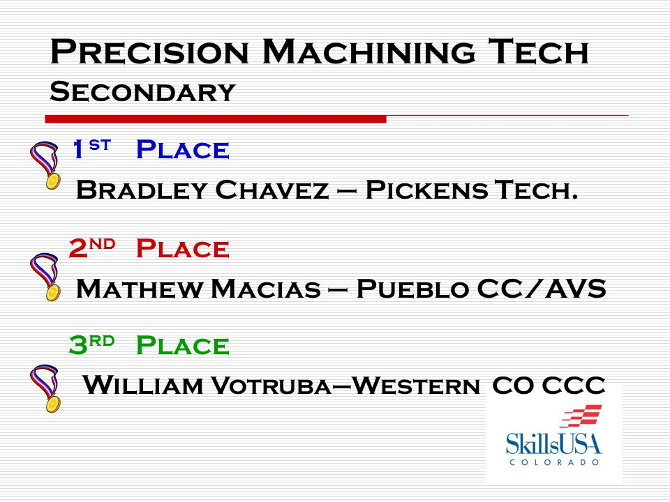 Precision Machining Tech Secondary 1 st Place Bradley Chavez – Pickens Tech.