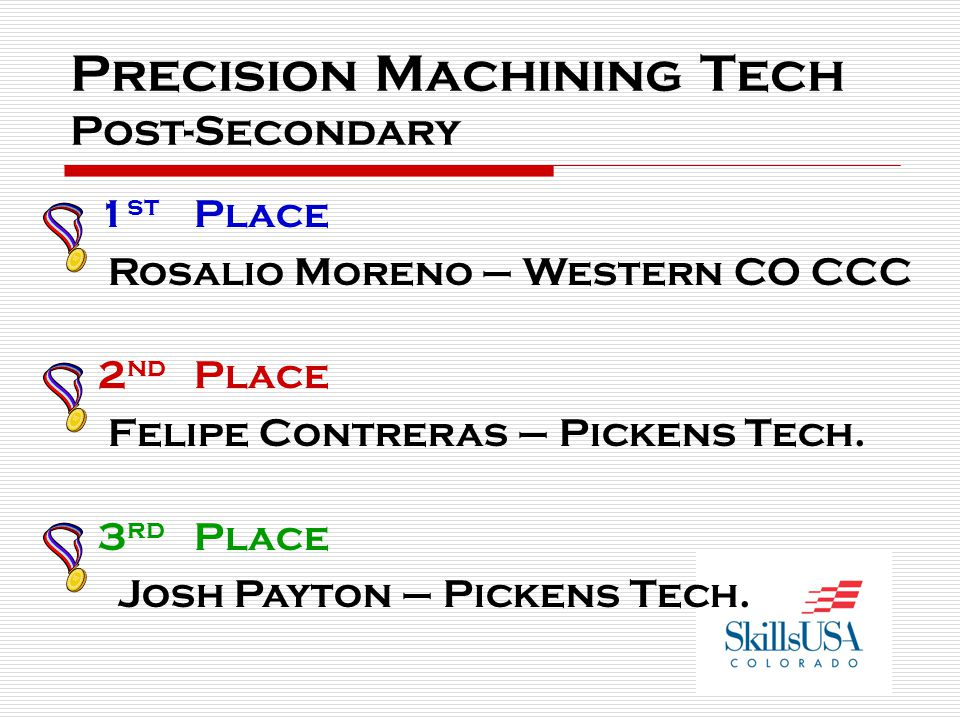 Precision Machining Tech Post-Secondary 1 st Place Rosalio Moreno – Western CO CCC 2 nd Place Felipe Contreras – Pickens Tech.