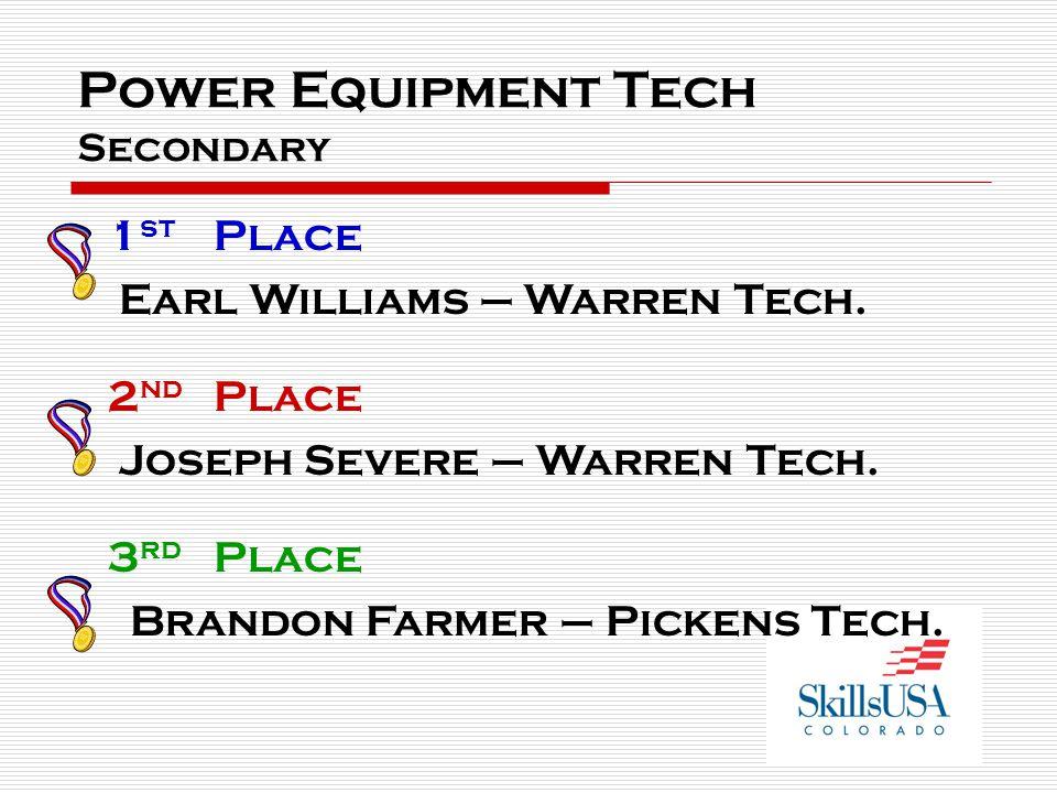 Power Equipment Tech Secondary 1 st Place Earl Williams – Warren Tech. 2 nd Place Joseph Severe – Warren Tech. 3 rd Place Brandon Farmer – Pickens Tec