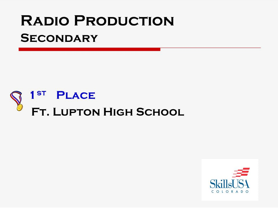 Radio Production Secondary 1 st Place Ft. Lupton High School