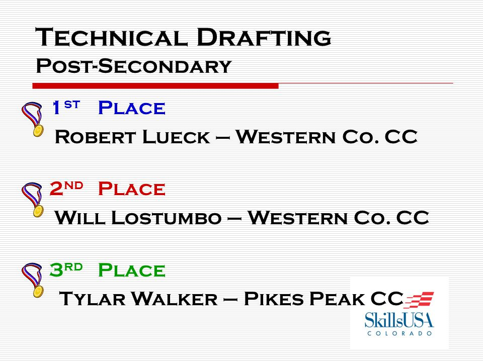 Technical Drafting Post-Secondary 1 st Place Robert Lueck – Western Co.