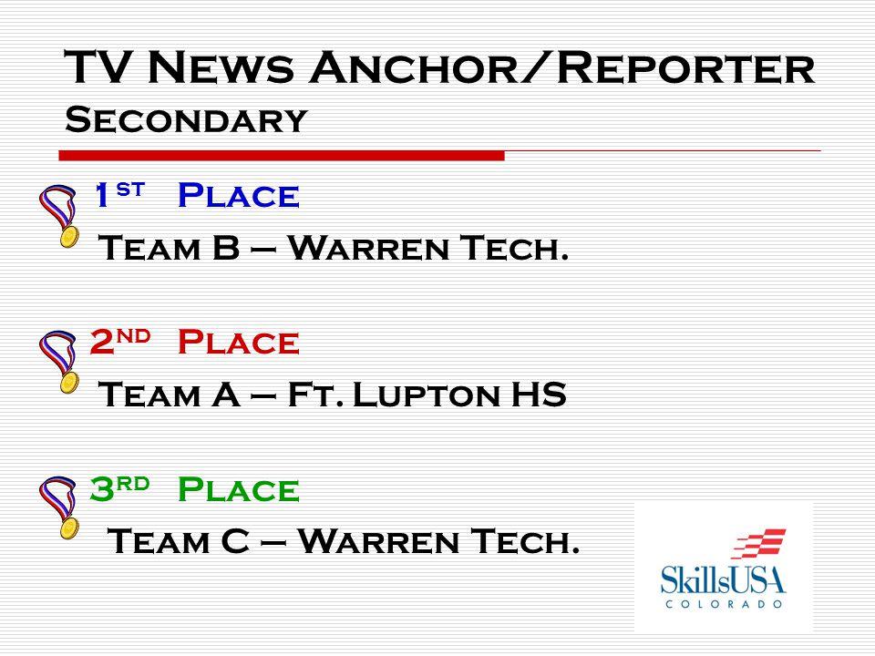 TV News Anchor/Reporter Secondary 1 st Place Team B – Warren Tech. 2 nd Place Team A – Ft.Lupton HS 3 rd Place Team C – Warren Tech.
