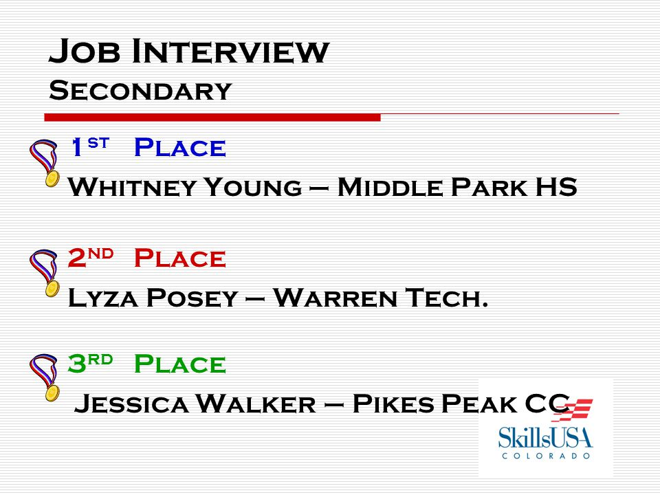 Job Interview Post-Secondary 1 st Place Jillian Weidlich – Pikes Peak CC 2 nd Place Carlene Marthis – Warren Tech.