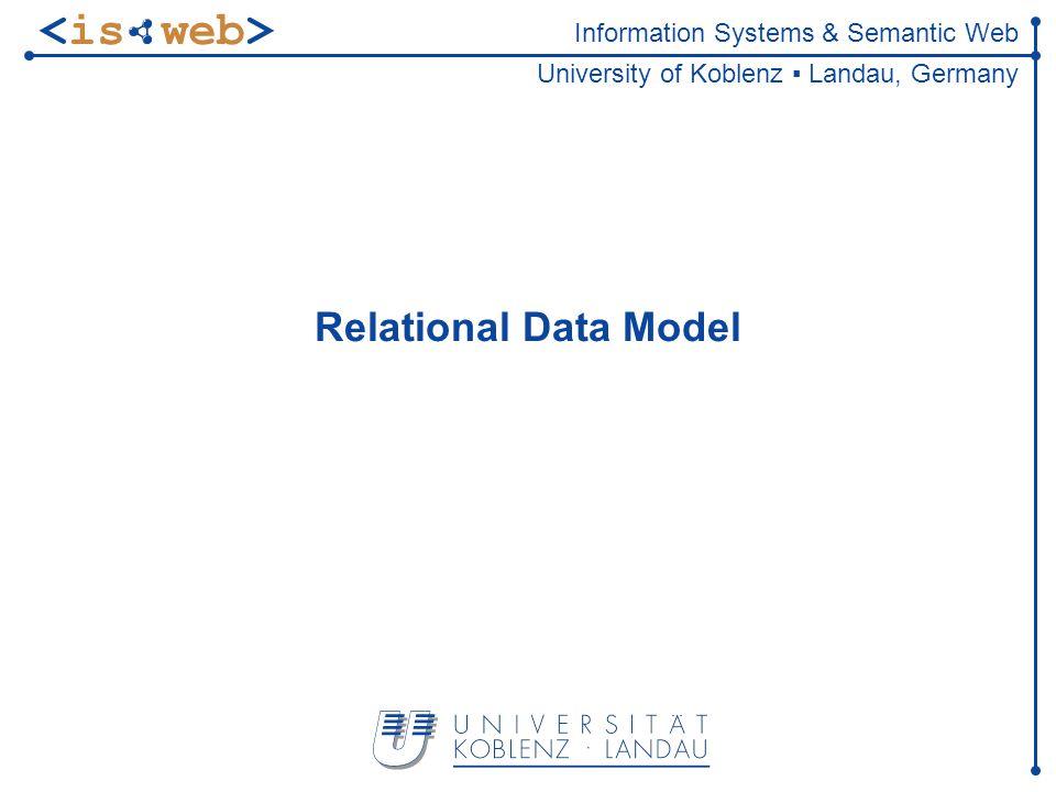 Information Systems & Semantic Web University of Koblenz Landau, Germany Relational Data Model