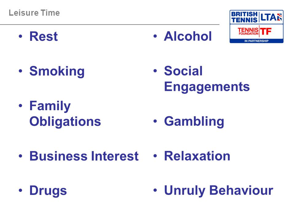 Leisure Time Rest Smoking Family Obligations Business Interest Drugs Alcohol Social Engagements Gambling Relaxation Unruly Behaviour