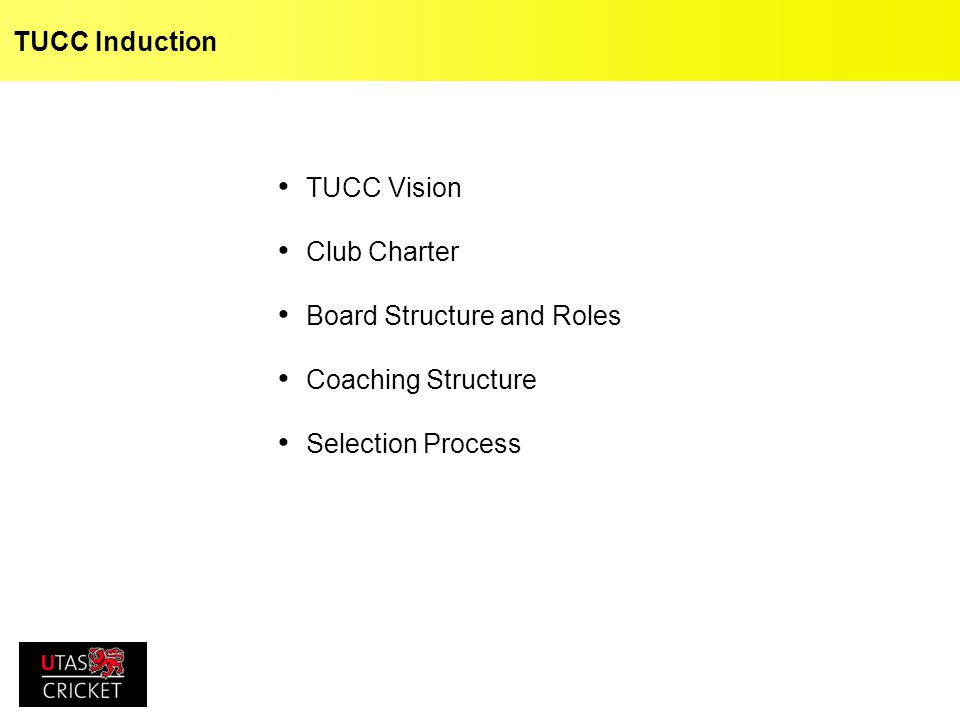 TUCC Induction TUCC Vision Club Charter Board Structure and Roles Coaching Structure Selection Process