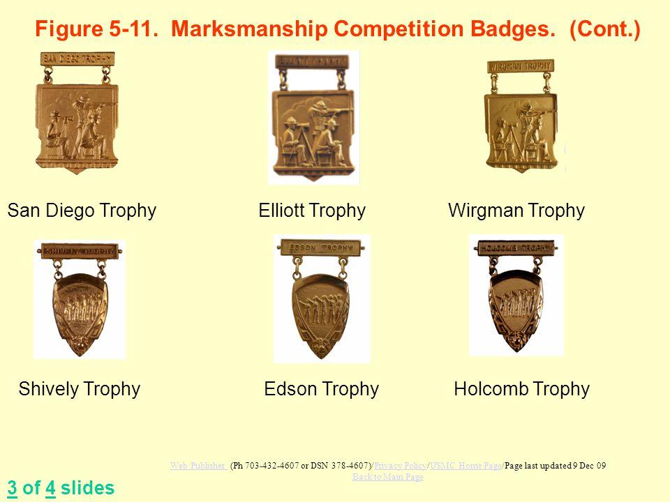 Figure 5-11. Marksmanship Competition Badges. (Cont.) 3 of 4 slides San Diego TrophyElliott TrophyWirgman Trophy Shively TrophyEdson TrophyHolcomb Tro