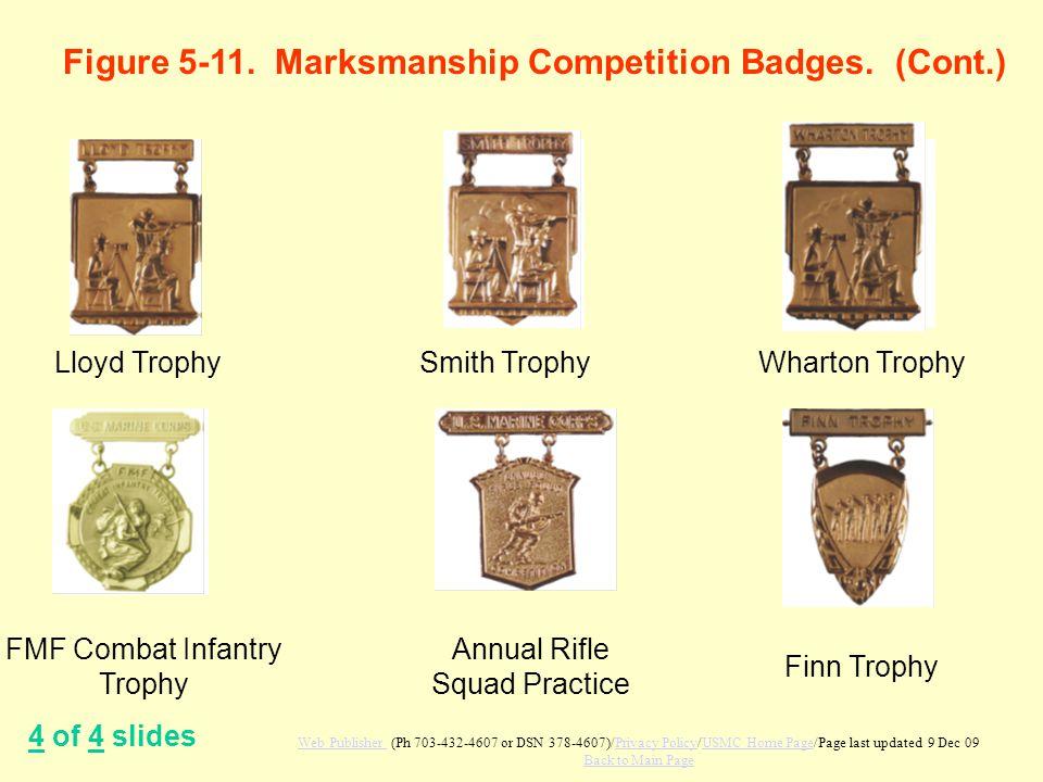 Figure 5-11. Marksmanship Competition Badges. (Cont.) 4 of 4 slides Lloyd TrophySmith TrophyWharton Trophy FMF Combat Infantry Trophy Annual Rifle Squ