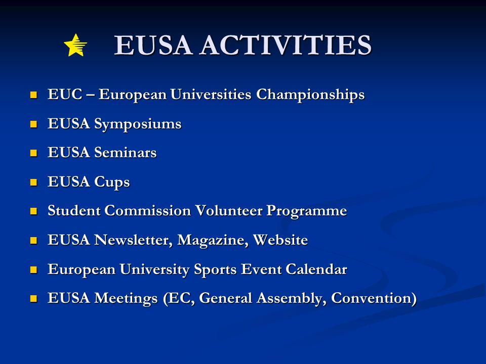 EUSA ACTIVITIES EUC – European Universities Championships EUC – European Universities Championships EUSA Symposiums EUSA Symposiums EUSA Seminars EUSA