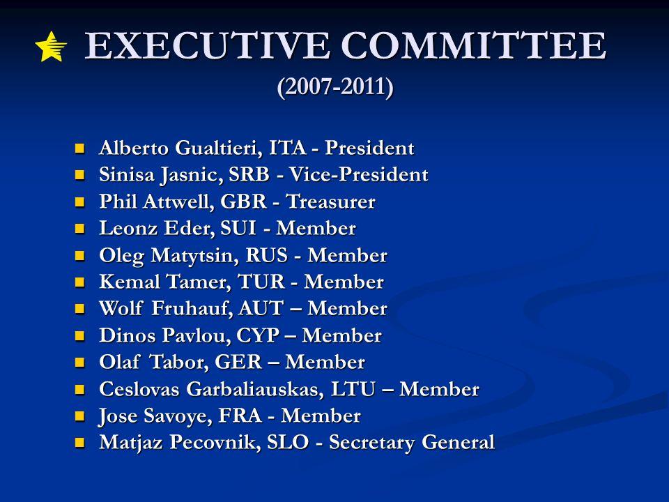 EXECUTIVE COMMITTEE (2007-2011) EXECUTIVE COMMITTEE (2007-2011) Alberto Gualtieri, ITA - President Alberto Gualtieri, ITA - President Sinisa Jasnic, SRB - Vice-President Sinisa Jasnic, SRB - Vice-President Phil Attwell, GBR - Treasurer Phil Attwell, GBR - Treasurer Leonz Eder, SUI - Member Leonz Eder, SUI - Member Oleg Matytsin, RUS - Member Oleg Matytsin, RUS - Member Kemal Tamer, TUR - Member Kemal Tamer, TUR - Member Wolf Fruhauf, AUT – Member Wolf Fruhauf, AUT – Member Dinos Pavlou, CYP – Member Dinos Pavlou, CYP – Member Olaf Tabor, GER – Member Olaf Tabor, GER – Member Ceslovas Garbaliauskas, LTU – Member Ceslovas Garbaliauskas, LTU – Member Jose Savoye, FRA - Member Jose Savoye, FRA - Member Matjaz Pecovnik, SLO - Secretary General Matjaz Pecovnik, SLO - Secretary General Student Commission Volunteer Programme Student Commission Volunteer Programme EUSA Newsletter EUSA Newsletter European University Sports Event Calendar European University Sports Event Calendar EUSA Meetings EUSA Meetings