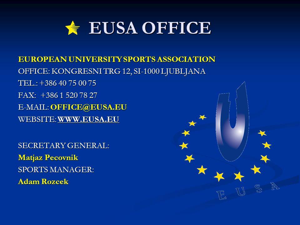 EUSA OFFICE EUROPEAN UNIVERSITY SPORTS ASSOCIATION OFFICE: KONGRESNI TRG 12, SI-1000 LJUBLJANA TEL.: +386 40 75 00 75 FAX: +386 1 520 78 27 E-MAIL: OFFICE@EUSA.EU WEBSITE: WWW.EUSA.EU SECRETARY GENERAL: Matjaz Pecovnik SPORTS MANAGER: Adam Rozcek