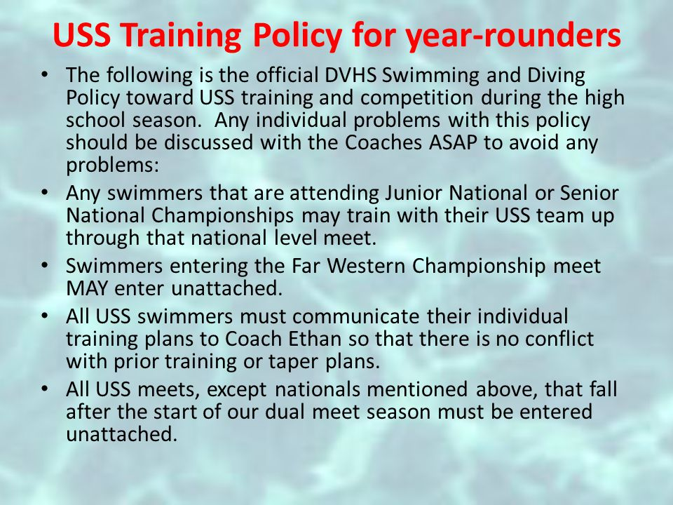 Team Rules To be eligible to swim: – Must attain a 2.0 Grade Point Average – Preferably NO Fs – Must have their proof of insurance and physical on file before he/she start practices.