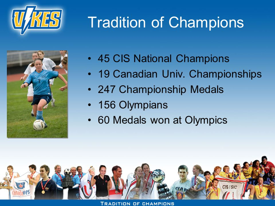 Tradition of Champions 45 CIS National Champions 19 Canadian Univ.