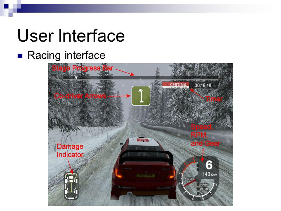 User Interface Racing interface
