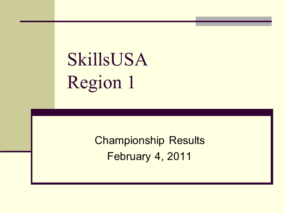 SkillsUSA Region 1 Championship Results February 4, 2011