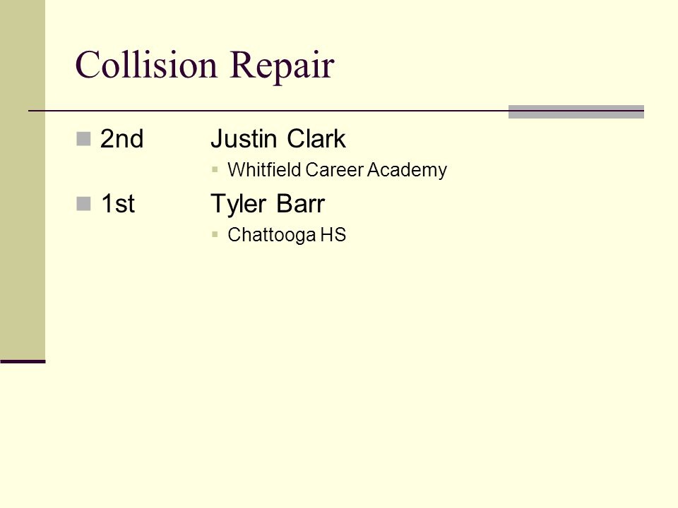Collision Repair 2ndJustin Clark Whitfield Career Academy 1stTyler Barr Chattooga HS