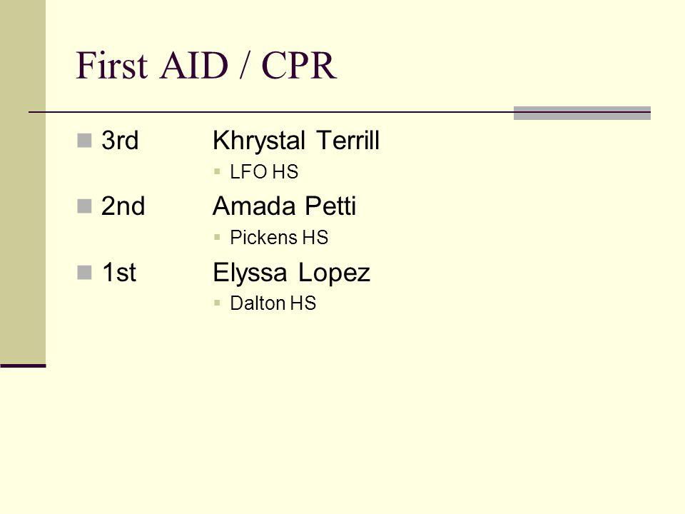 First AID / CPR 3rdKhrystal Terrill LFO HS 2ndAmada Petti Pickens HS 1stElyssa Lopez Dalton HS