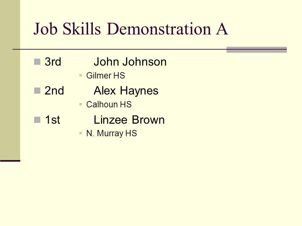 Job Skills Demonstration A 3rdJohn Johnson Gilmer HS 2ndAlex Haynes Calhoun HS 1stLinzee Brown N.