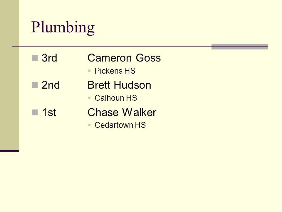 Plumbing 3rdCameron Goss Pickens HS 2ndBrett Hudson Calhoun HS 1stChase Walker Cedartown HS