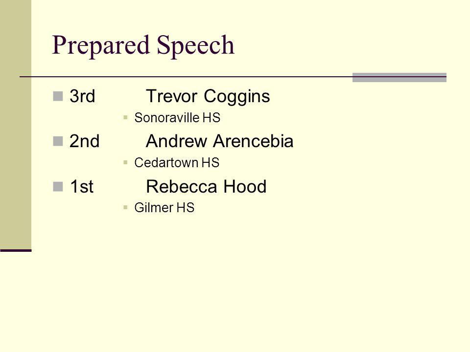 Prepared Speech 3rdTrevor Coggins Sonoraville HS 2ndAndrew Arencebia Cedartown HS 1stRebecca Hood Gilmer HS