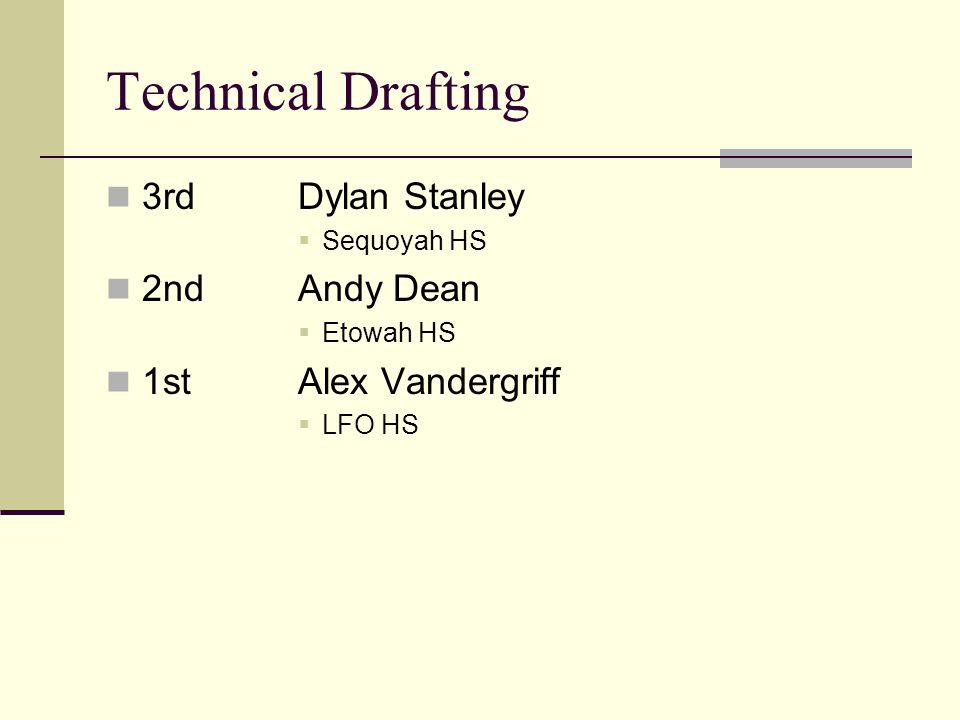 Technical Drafting 3rdDylan Stanley Sequoyah HS 2ndAndy Dean Etowah HS 1stAlex Vandergriff LFO HS