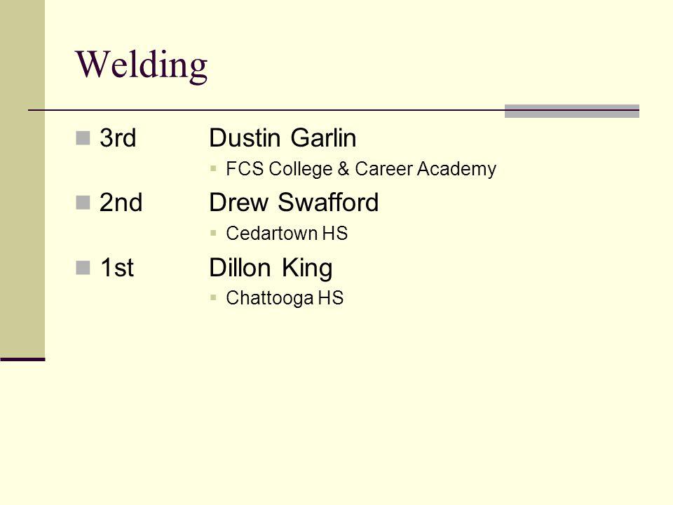 Welding 3rdDustin Garlin FCS College & Career Academy 2ndDrew Swafford Cedartown HS 1stDillon King Chattooga HS