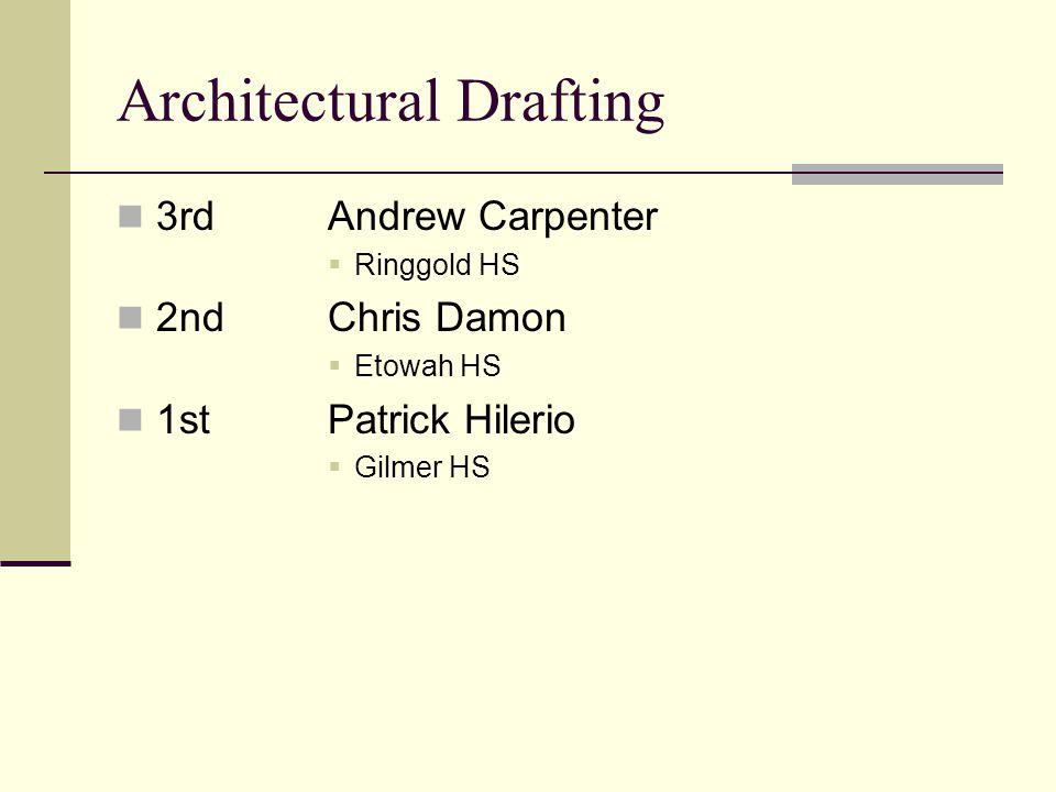 Architectural Drafting 3rdAndrew Carpenter Ringgold HS 2ndChris Damon Etowah HS 1stPatrick Hilerio Gilmer HS