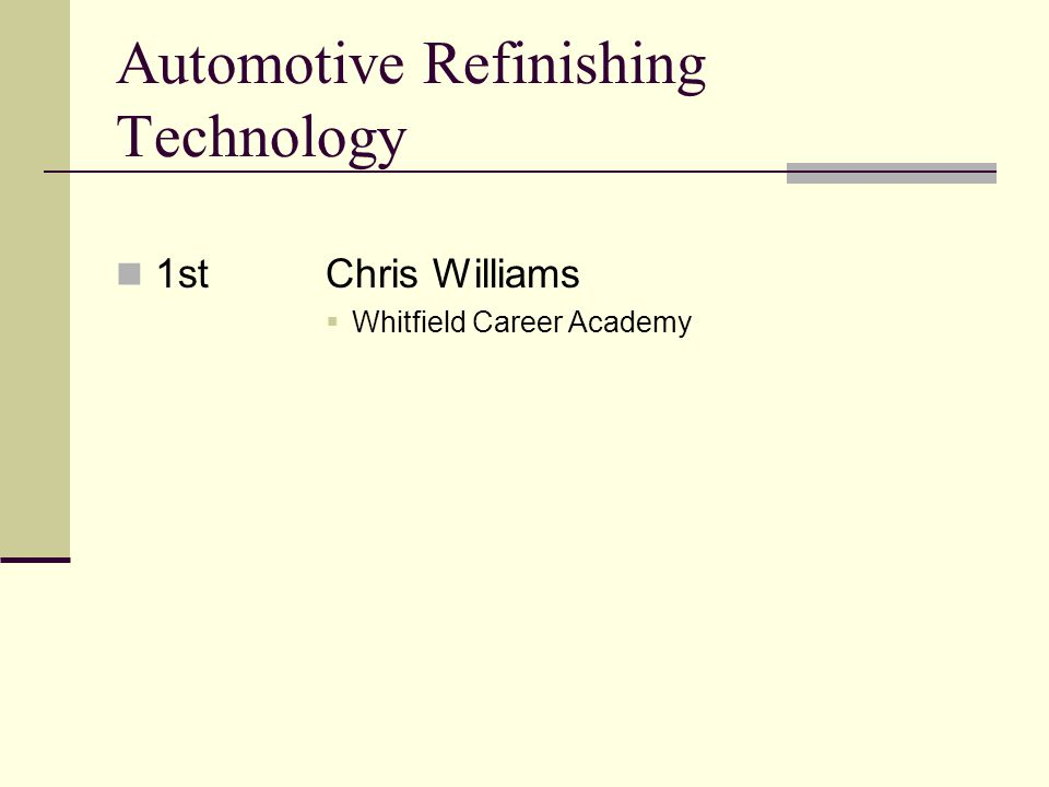 Automotive Refinishing Technology 1stChris Williams Whitfield Career Academy