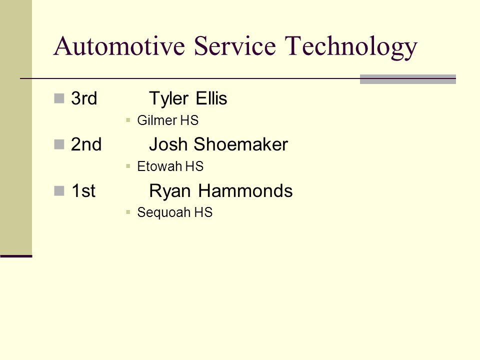 Automotive Service Technology 3rdTyler Ellis Gilmer HS 2ndJosh Shoemaker Etowah HS 1stRyan Hammonds Sequoah HS