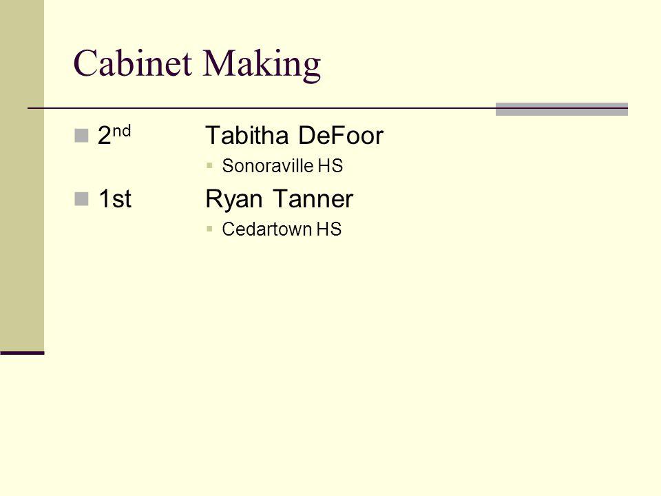 Cabinet Making 2 nd Tabitha DeFoor Sonoraville HS 1stRyan Tanner Cedartown HS