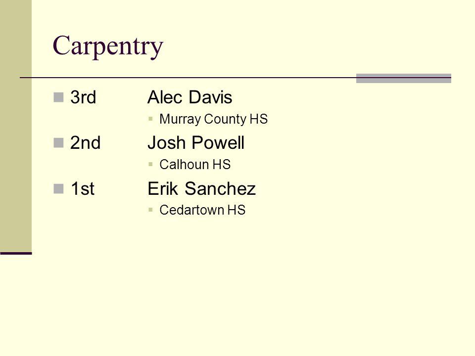 Carpentry 3rdAlec Davis Murray County HS 2ndJosh Powell Calhoun HS 1stErik Sanchez Cedartown HS